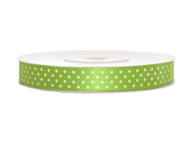 Zelené saténové stuhy s puntíky- 25 m / 1,2 cm