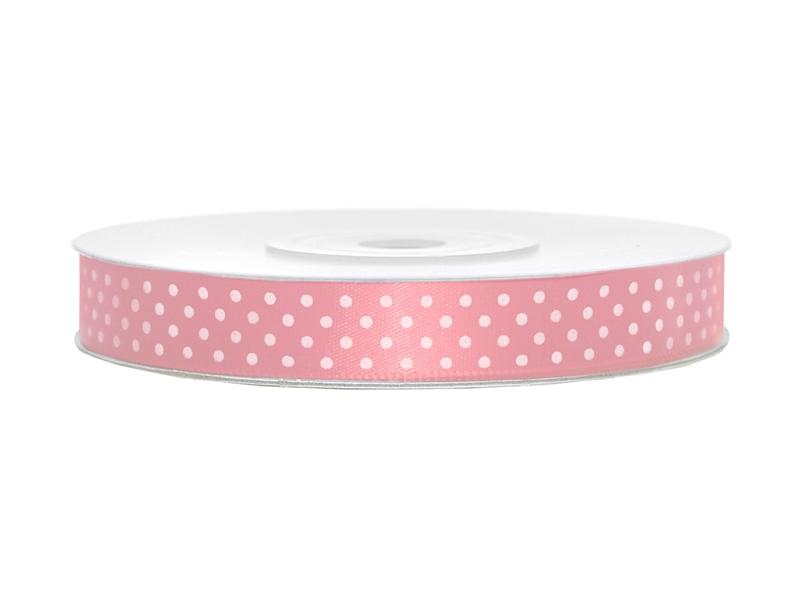 Světle růžové saténové stuhy s puntíky- 25 m / 1,2 cm