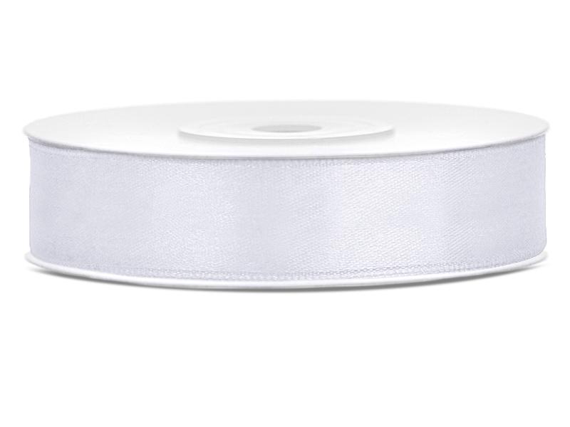 Bílé saténové stuhy - 25 m / 2,5 cm