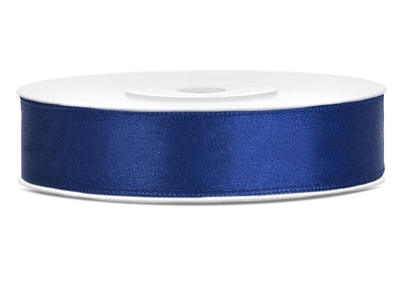 Saténové stuhy námořní modř - 25 m / 2,5 cm