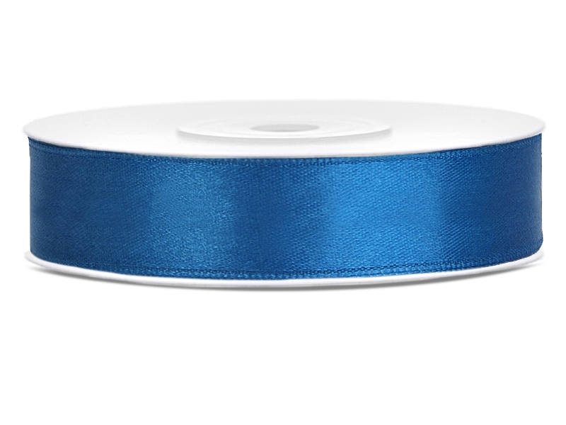Modré saténové stuhy - 25 m / 2,5 cm