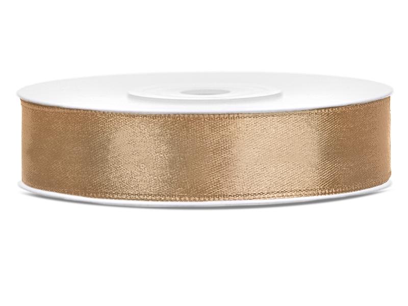 Světle zlaté saténové stuhy - 25 m / 2,5 cm