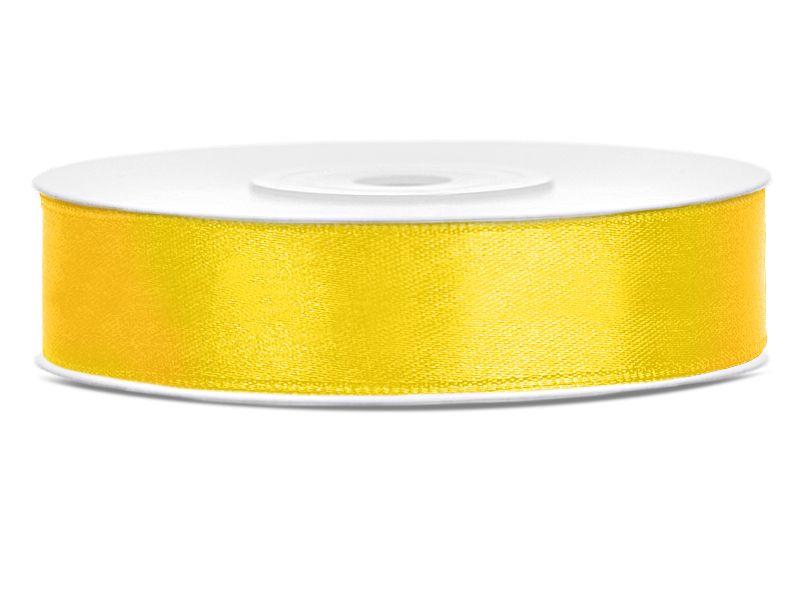 Tmavě žluté saténové stuhy - 25 m / 2,5 cm