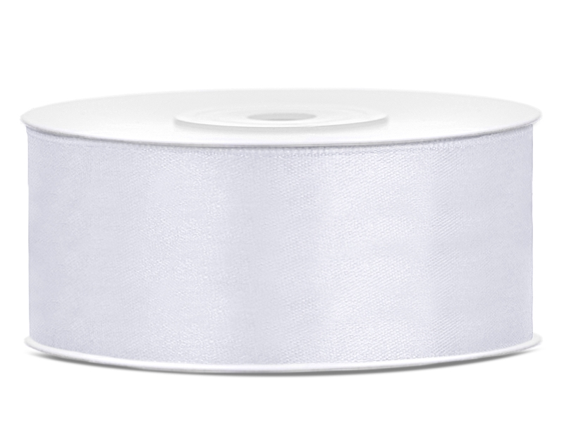Bílé saténové stuhy - 25 m / 3,8 cm