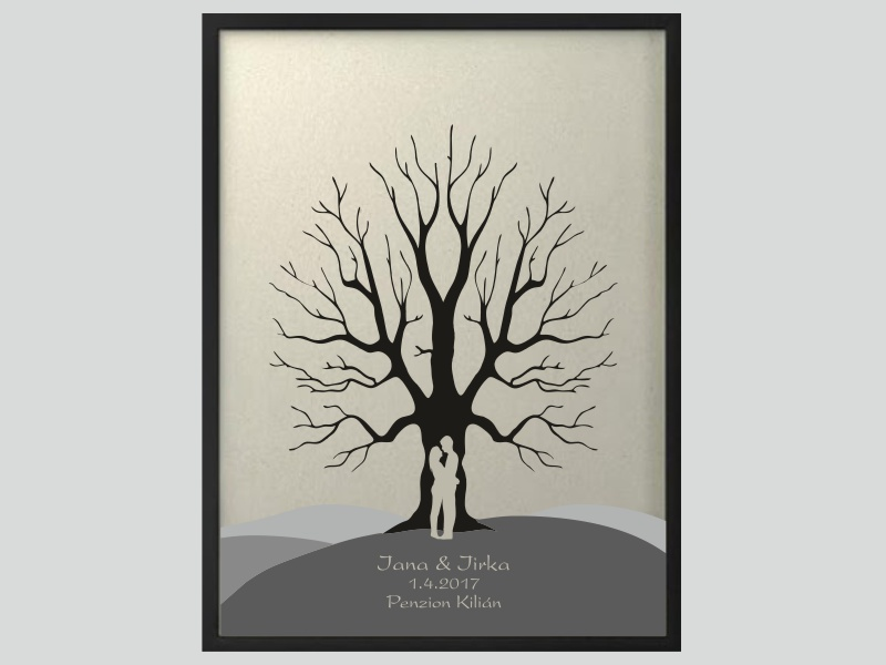 Svatební strom 6 se jmény 53 x 73 cm