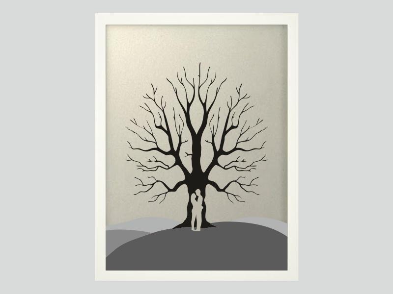 Svatební strom 6 v bílém rámu 43 x 53 cm