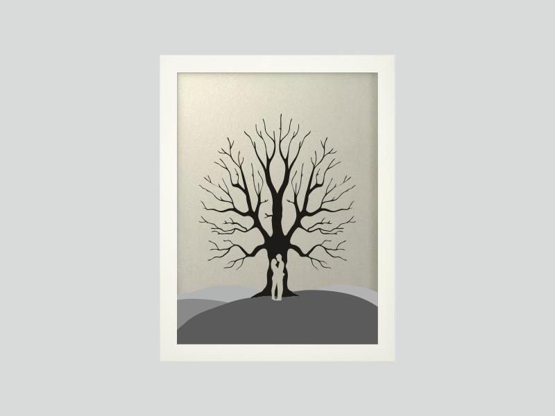 Svatební strom 6 v bílém rámu 33 x 43 cm