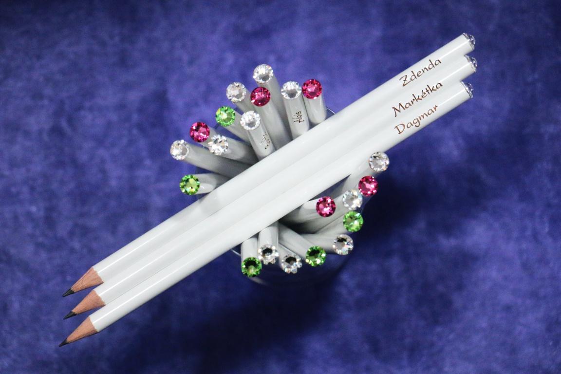 Svatební tužky Swarovski s různými jmény