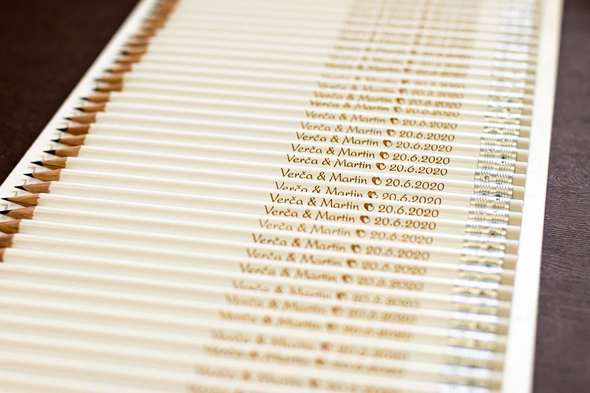Svatební tužky se jmény - s gumou