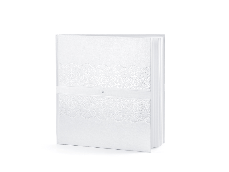 Bílá svatební kniha hostů s krystalem
