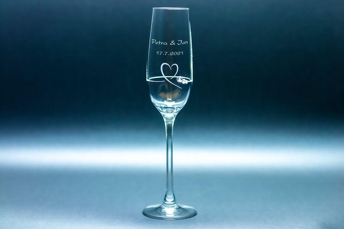 Skleničky na šampaňské s krystaly Swarovski s gravírováním - 2 ks