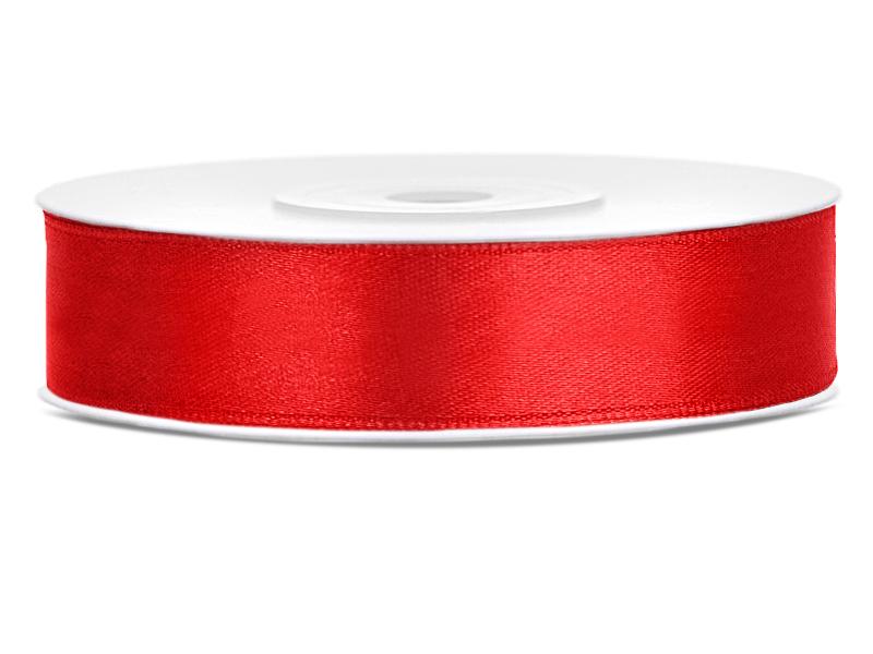 Červené saténové stuhy - 25 m / 2,5 cm