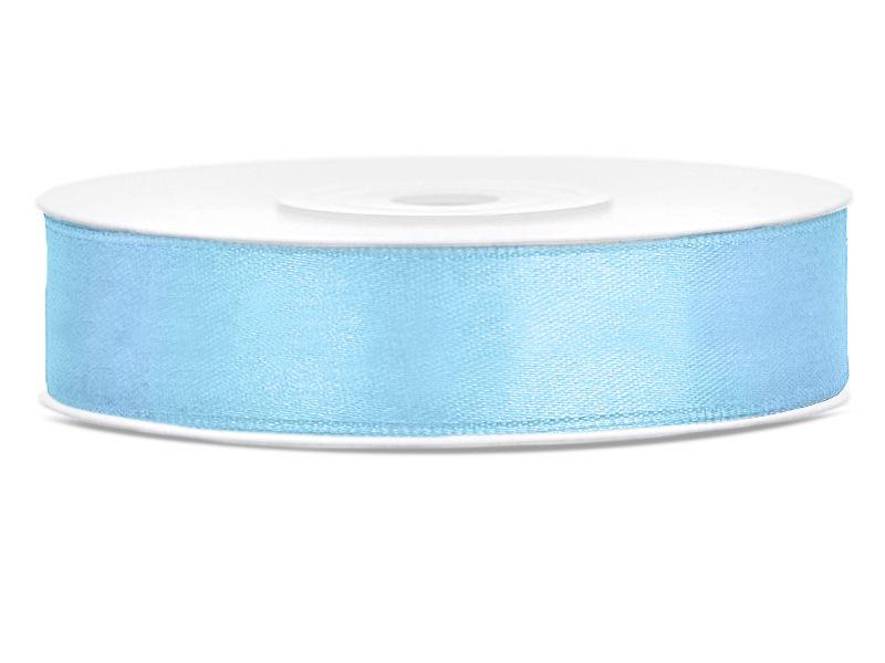 Světle modré saténové stuhy - 25 m / 2,5 cm