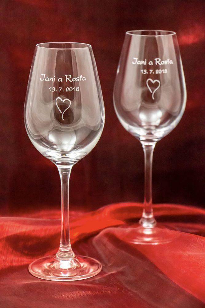 Svatební skleničky na víno se jmény - Viola - od 12 ks