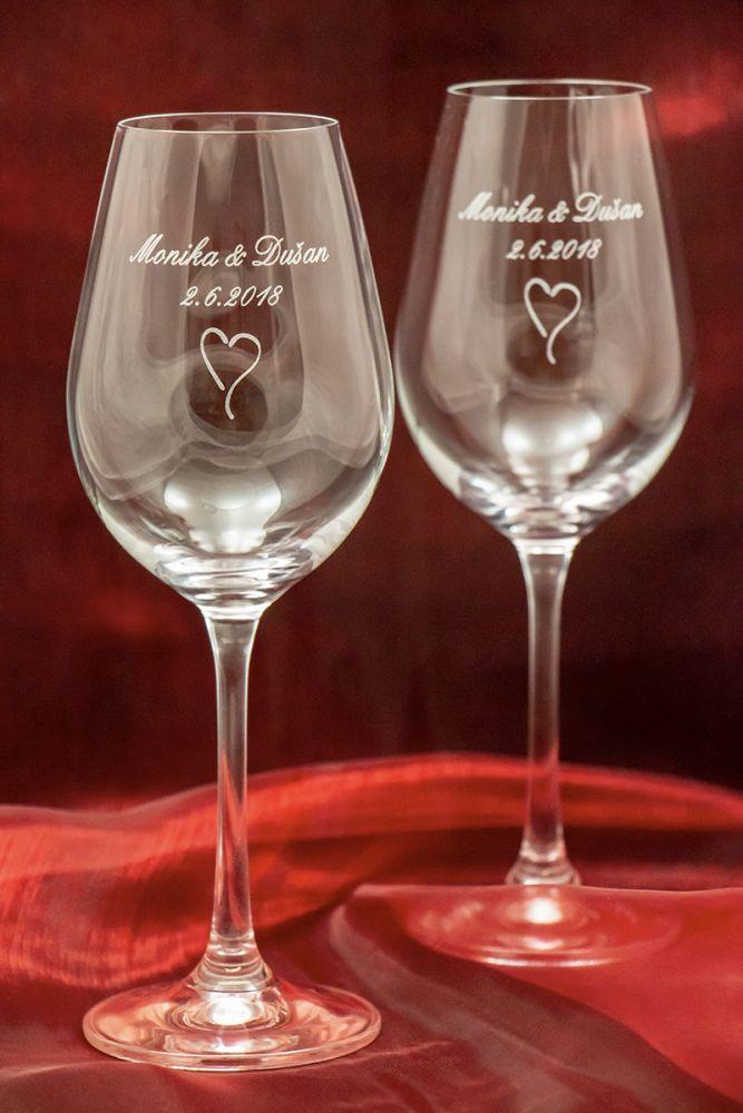 Svatební skleničky na víno se jmény - Viola - od 2 ks