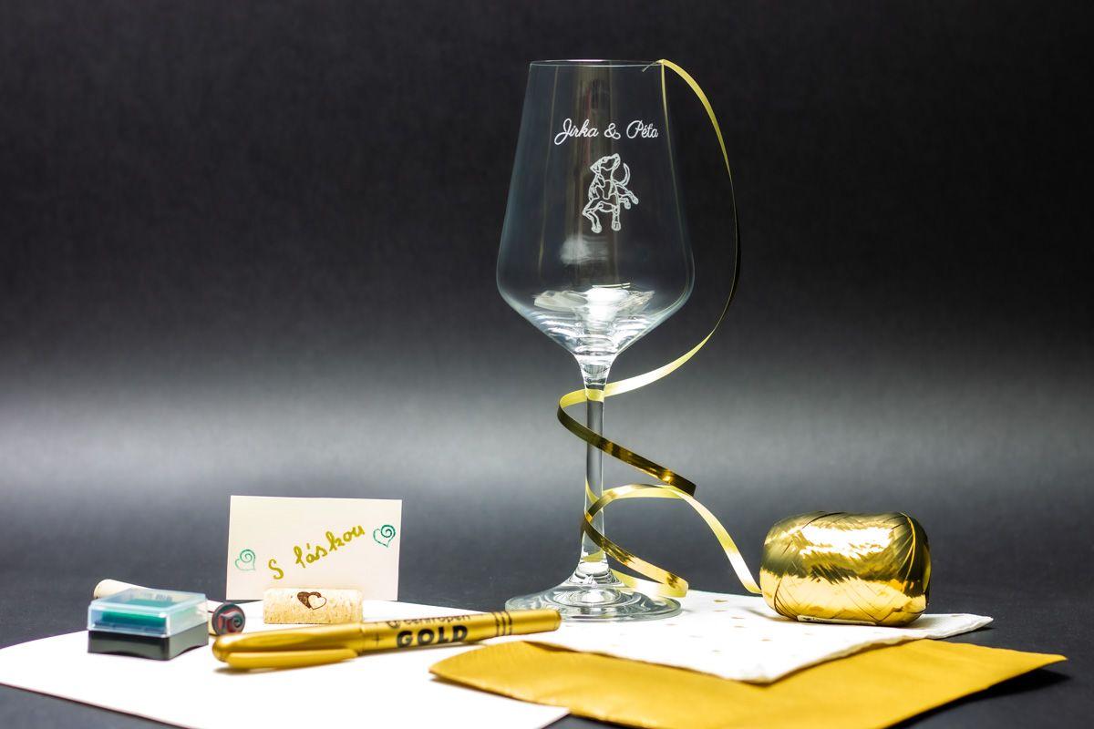 Svatební skleničky na víno se jmény - Sandra - od 2 ks