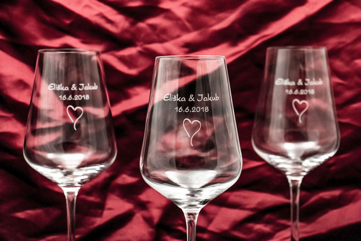 Svatební skleničky na víno se jmény - Sandra - od 6 ks