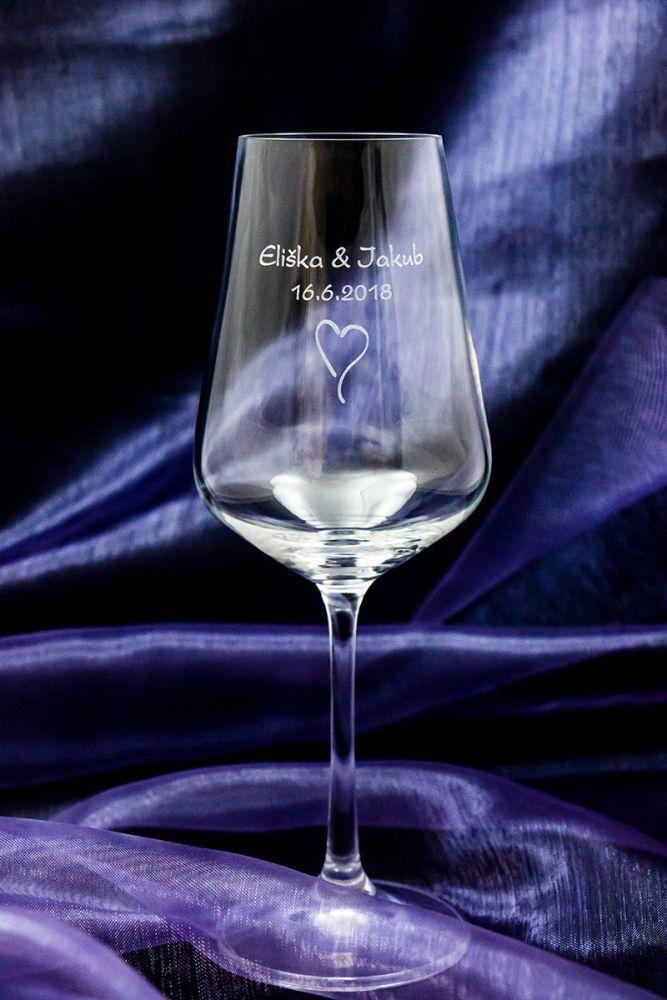Svatební skleničky na víno se jmény - Sandra - od 12 ks