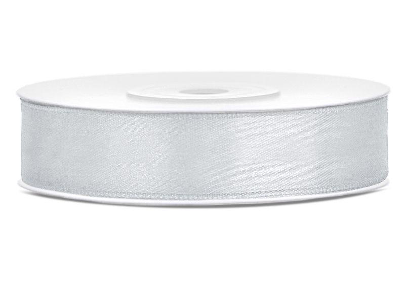 Stříbrné saténové stuhy - 25 m / 2,5 cm