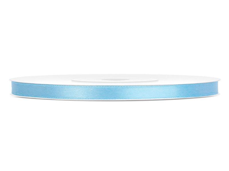 Světle modré saténové stuhy - 25 m / 0,6 cm