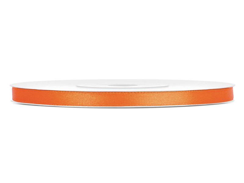 Oranžové saténové stuhy - 25 m / 0,6 cm