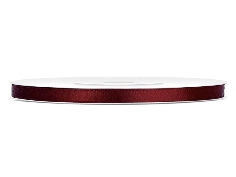 Bordó saténové stuhy - 25 m / 0,6 cm