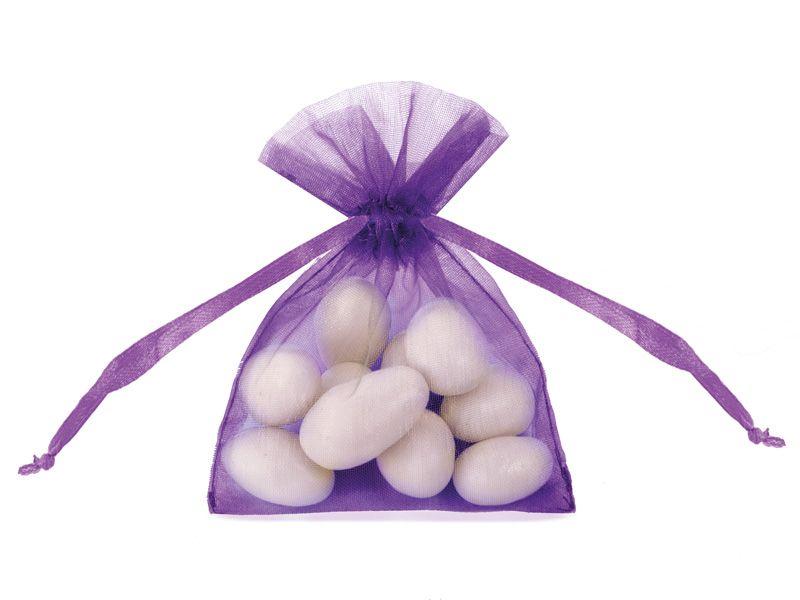 Organzové dárkové sáčky - tmavě fialové