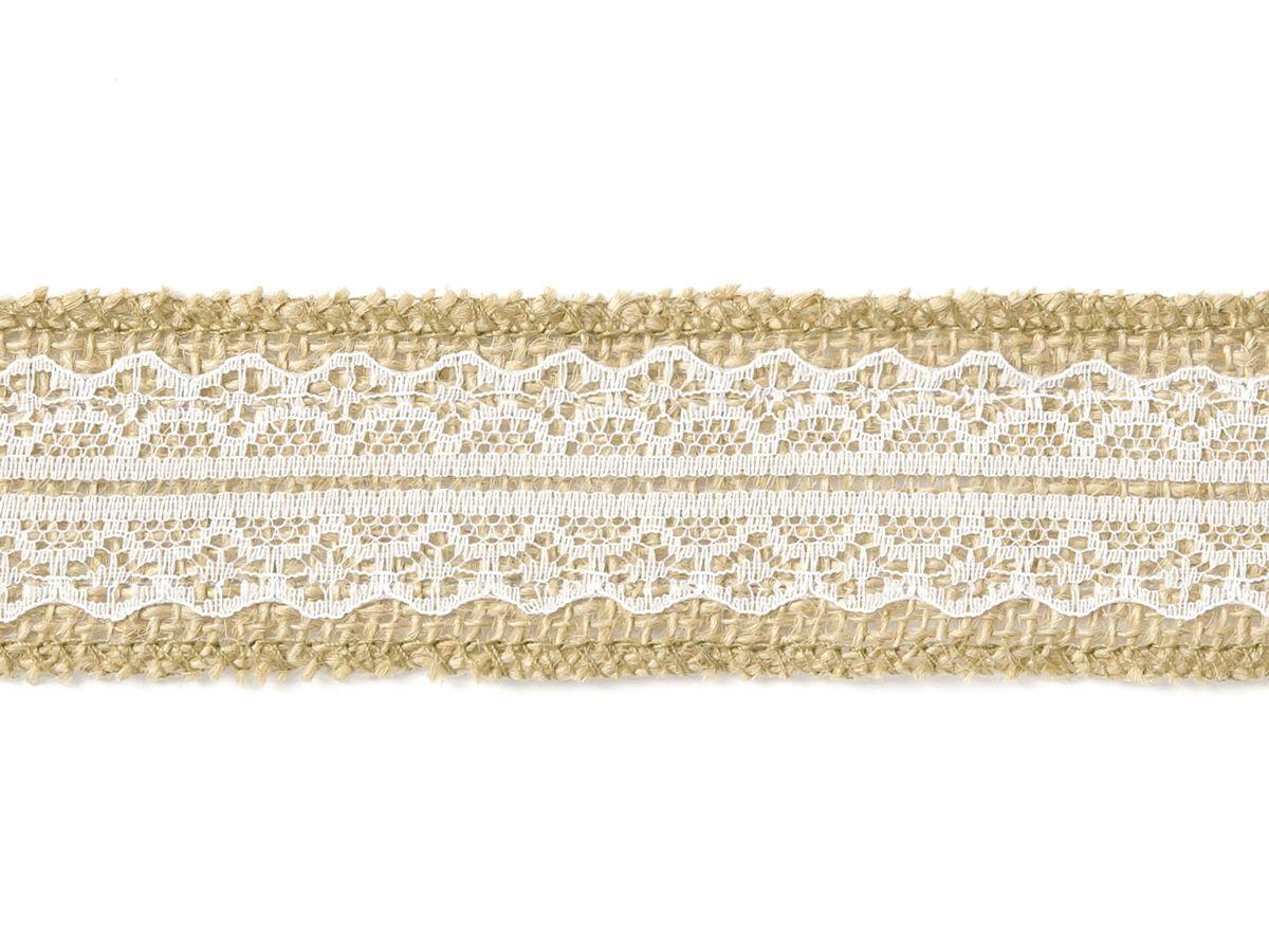 Jutová stuha s krajkou na stůl 4cm x 5m
