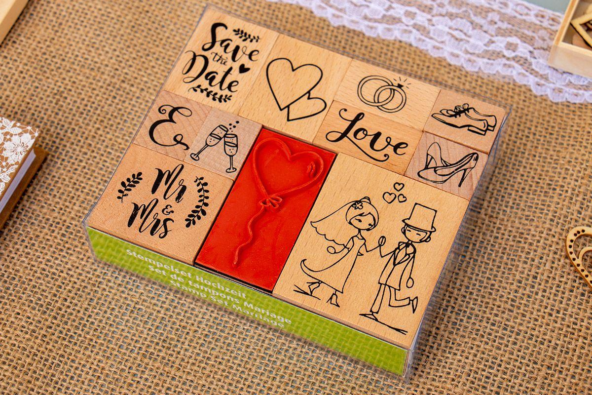 Dřevěná sada 11 razítek - Svatba