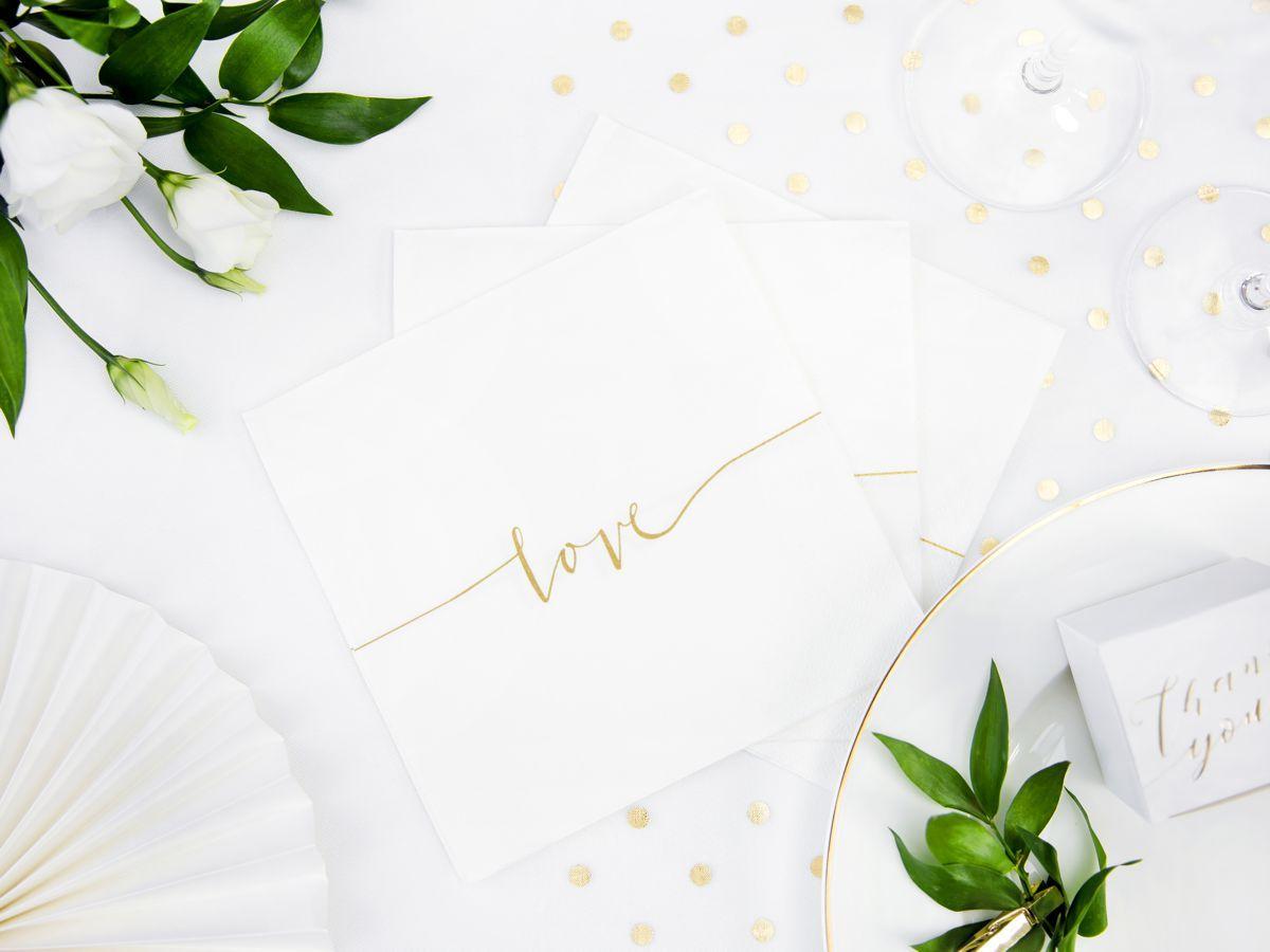 Svatební ubrousky Premium - se zlatým Love