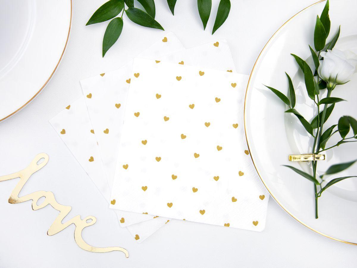 Svatební ubrousky Premium - se zlatými srdíčky