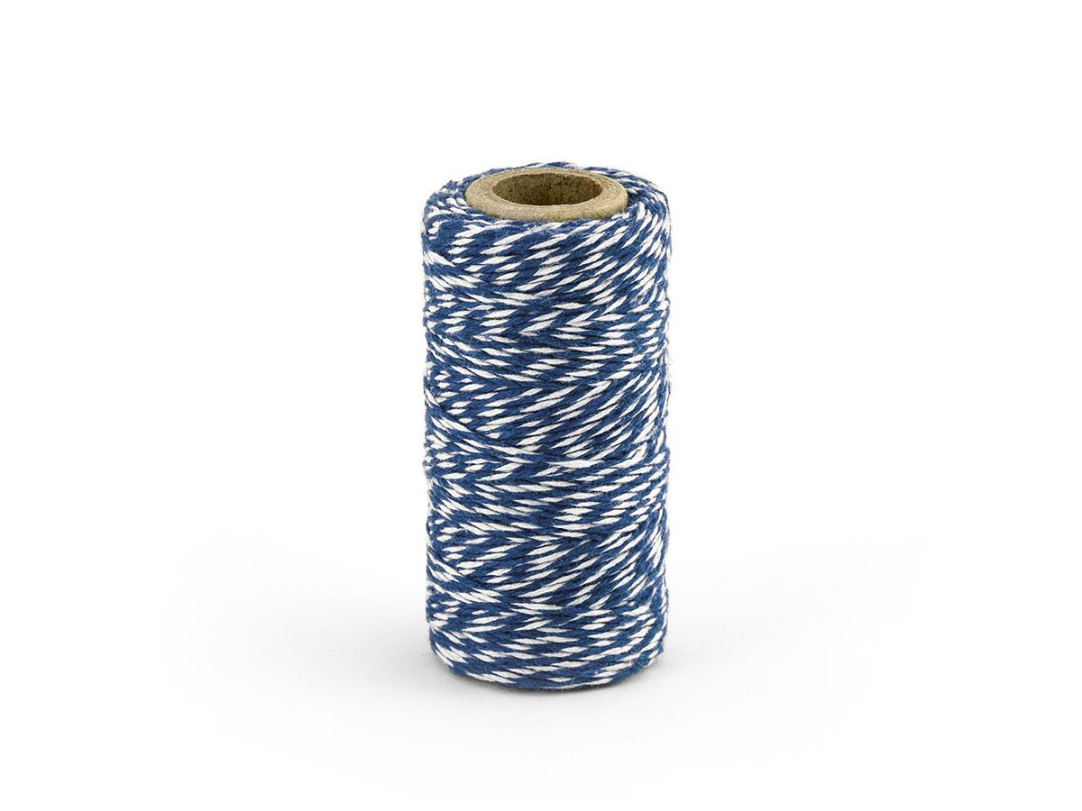 Barevný provázek z bavlny - námořní modř / bílý - 50 m
