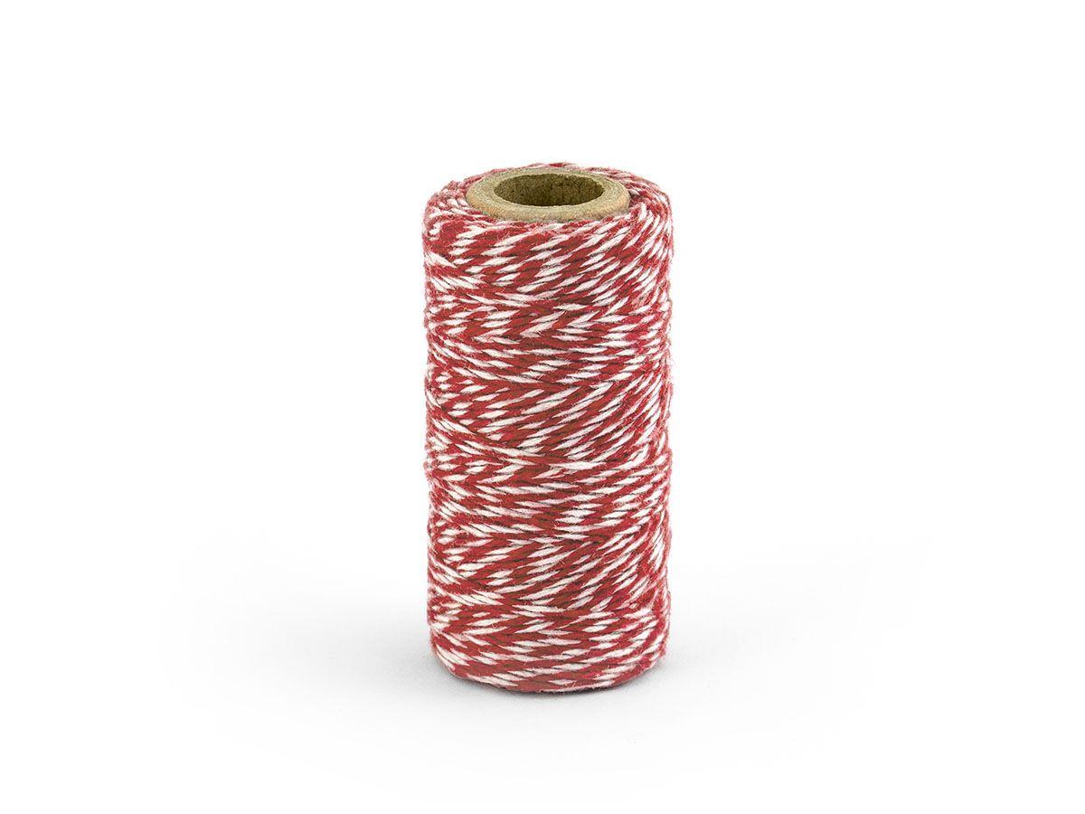 Barevný provázek z bavlny - červený / bílý - 50 m