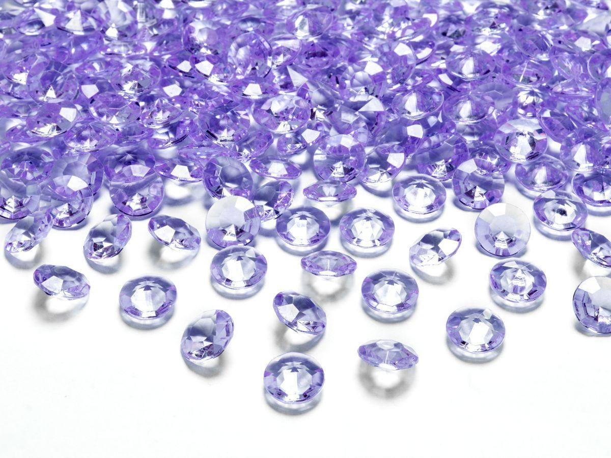 Dekorační akrylové diamanty 100 ks - fialové