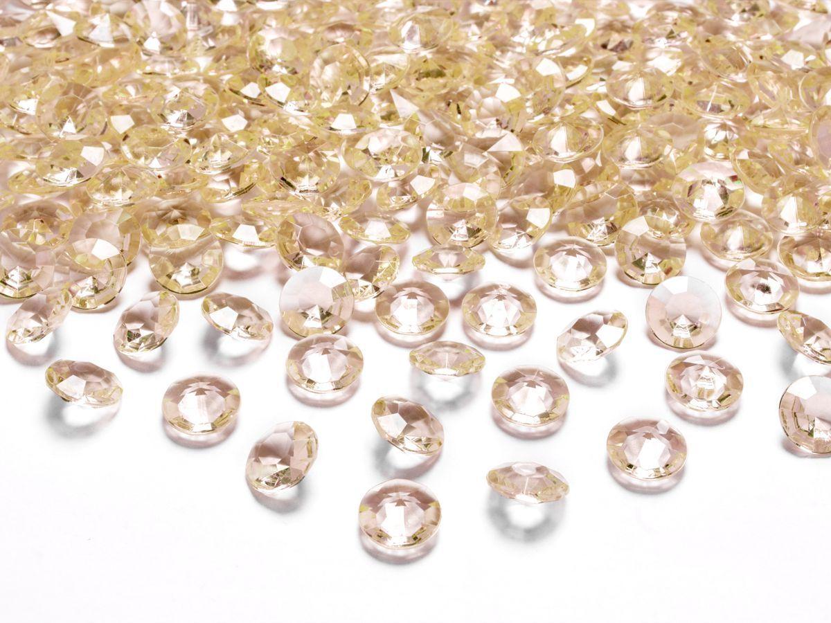 Dekorační akrylové diamanty 100 ks - zlaté