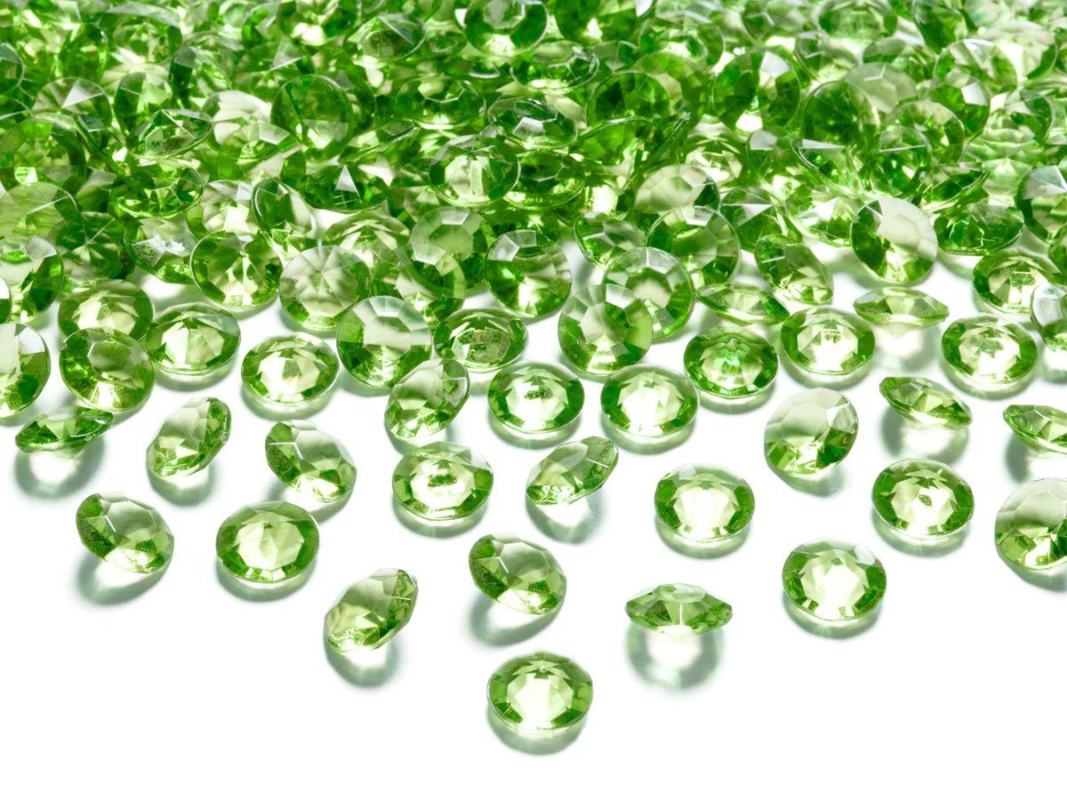 Dekorační akrylové diamanty 100 ks - zelené