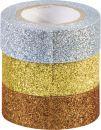 Sada 3 ozdobných lepicích glitrových pásek